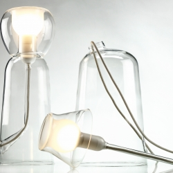 "Hand blown glass ""Fioriness"" lamps by French designer Laurent Corio for Secondome will be exhibited at Maison&Objet this week in Paris."