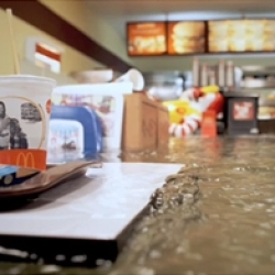 Superflex are a radical art collective from Copenhagen, with previous hits including a burnt out car and an intriguing 'Free Beer' enterprise. With their latest exhibit they have flooded an entire McDonald's!!