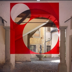 Geometric illusions in Italy and Germany by artist Felice Varini.
