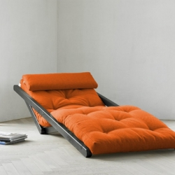 Figo Futon Chaise Lounge converts easily from chaise lounge chair to a low bed.