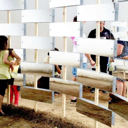"""""""Reflections"""" the installation of Go-Up Architects to the Festival Des Architectures Vives in La Grande Motte."""