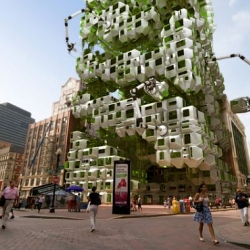In Boston, Howeler Yoon Architecture and Squared Design Lab have proposed Filene's Eco Pods, a series of modular pods that harbor an algae bioreactor.