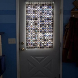 Beautiful DIY curtain made from film slides.