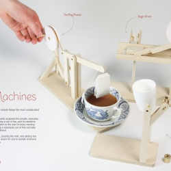 "Time Wasting Tea Machines aid the process of time wasting. ""Wasting time is doing the simple things the most complicated way."" Three devices take the simple, act of making tea, and turn it into an elaborate performance."