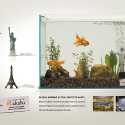 Creative piece.  Small but funny idea. Global warming action by Instituto Akatu. Miniatures of famous monuments were placed inside large aquariums scattered throughout the city, alerting for problems with global warming.