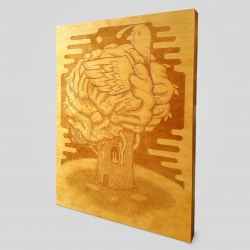"""'Roots & Branches' designed by Jeremy Fish. Limited Edition of 30 Laser Etched Art Panels on Solid Birch Wood. Hand Varnished with Care. Dimensions: 18"""" × 24"""" × 1.5"""". Available exclusively at Upper Playground."""