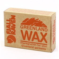 "Fjällräven Greenland Wax. ""By rubbing the wax into the fabric and warming it, the surface becomes water repellent."" I would totally test this if I still lived in SF. And cute fox logo!"