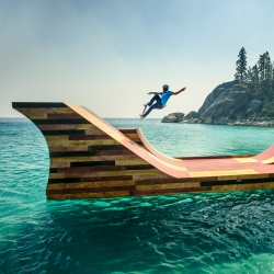 Professional skateboarder Bob Burnquist's floating skateboard ramp makes waves on Lake Tahoe.