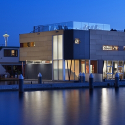 Some floating homes have been built on Lake Union, and this design is one of them. This design was done by Vandeventer + Carlander Architects, located at the second position from the end of the dock.