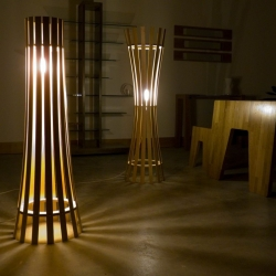 An attractive floor lamp by Irish designer Davin Larkin of Kooyong Design. Use of special woods as the main raw material.