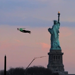 Three human shaped RC planes were flown around New York City to create the illusion of people flying.