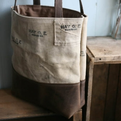 Forest Bound Leather Bottomed Tote Bag