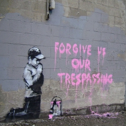 "Banksy recently put up this piece spotted outside downtown Salt Lake City, Utah. The clever stencil features a graffiti boy praying for forgiveness. ""Forgive Us Our Trespassing,"" it states."