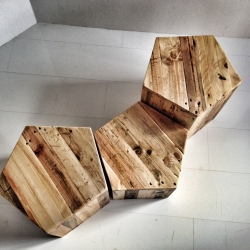 PENTAGON sidetable, crafted with recycled wood by