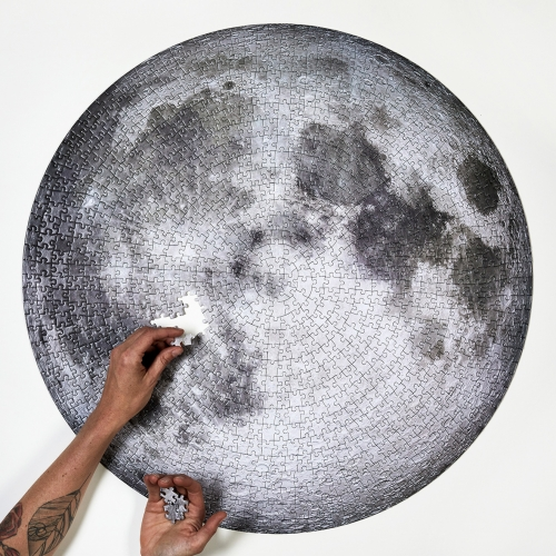 In celebration of the 50th anniversary of the lunar landing, Four Point Puzzles released this 1000 piece circular puzzle of the Moon. Featuring an image from NASA, this puzzle shows all of the Moon's details in stunning clarity.