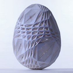 fourfoursixsix architects design a beautiful, intricate and complex laser-sintered egg for Fabergé, as part of their 'Big Egg Hunt' currently taking place throughout central London.