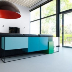 A little bit Bauhausy, and a lot of fun, this storage cabinet designed by Koenraad Ruys for Moca.