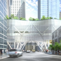 San Francisco's Transbay Transit Center will host California's high-speed rail line, topped with 5.4-acre urban park on its roof, accessed by sky bridges and a funicular. Fountains in the park will activate when a bus passes underneath.