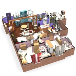 Amazing 3D plans and 360° apartments of famous TV series like Friends, How I Met Your Mother and The Big Bang Theory.