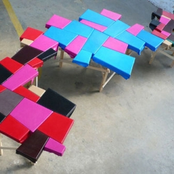 Peter Marigold makes these tables using scraps leftover leather from Fendi production.