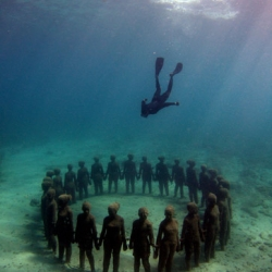 Jason de Caires Taylorcreated the first underwater sculpture park in Grenada, West Indies. He created an artificial reef for marine life to populate,  including planktons and corals.
