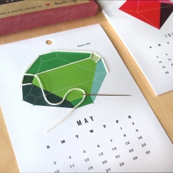 Stitch a gemstone each month and create your own calendar. Printed on iridescent paper, this kit uses a simple poke-and-stitch method to outline the facets. Kids age 8 and older (and adults) can do this easy kit. By Heather Lins Home.