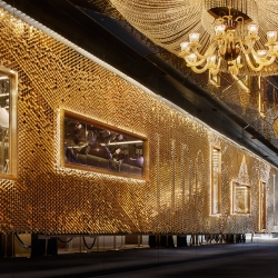 Giles Miller Studio debuts a 30 metre long ceramic installation on the Champs Elysees for the world famous cabaret club, Le Lido in Paris.
