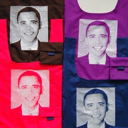 Show your OBAMA love by sporting an OBAMA BAGGU! $10 each, and all profits are donated to the campaign. Chocolate is my favorite.