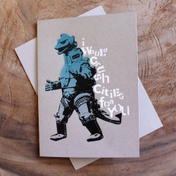 Godzilla Card from Stencil - created with the use of pneumatic guns, laser cut stencils, and water based ink. A piece of street art that you can hold in the palm of your hand!