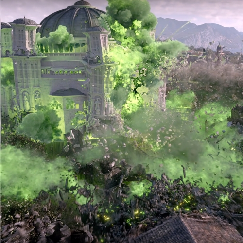 Game of Thrones season 6 finale featured visual effects by Rising Sun Pictures. They created King's Landing and the central shrine, then burned them down with a green inferno.
