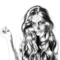 Illustration called 'fashion is not dead'. Portrait of Gala Gonzalez famous blogger.