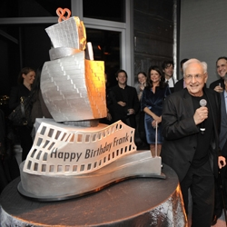 Even his birthday cake is Gehry-esque.  The celebration was for his 82nd birthday and the opening of New York by Gehry, the tallest residential building in the Western Hemisphere.