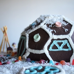 Build your own gingerbread geodesic house with our dome template and easy to follow instructions including recipes for gingerbread and icing. Template is laser cut and scored for easy assembly. It's fun. It's festive.
