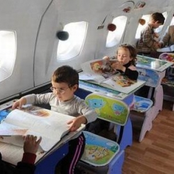 Georgian headmaster transforms old airplane into a kindergarten