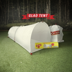 The Glad Tent Case Study by Alma Agency. The first tent to be a trash bag.  The first trash bag to be a tent.  Distributed and tested at SXSW.