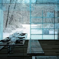 The woodland house by Italian design team Santambrogiomilano, which comes with a set of furniture made entirely from glass. Now, what is it they say about people in glass houses?