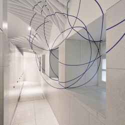 Wonderful new ladies' toilets at the Victoria and Albert Museum in London feature this geometric pattern by Swiss artist Felice Varini that can only be fully seen in the basin mirror.