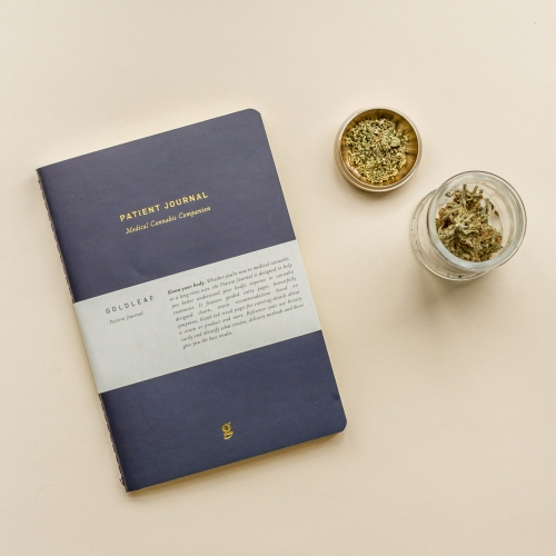 Gold Leaf Patient journal / log-book for medical cannabis patients. Templated pages, strain recommendations and science-forward design.