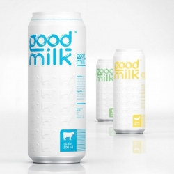 "Cool packaging and design for ""Good Milk"". Now available in aluminum cans and Tetra Pak."