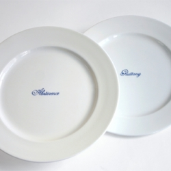 7 Deadly Sins/7 Seven Contrary Virtues. Abstinence/Gluttony (serving plates) , Humility/Pride, Kindness/Envy, Chastity/Lust, Temperance/Anger, Charity/Greed, Diligence/Sloth. Finish- Bone china.