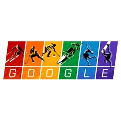 The Google Doodle goes Rainbow in time for Sochi Winter Olympics opening - quoting from Olympic Charter: equality for all.