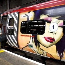 unfortunately, i'm not headed up to manchester anytime soon. how cool is virgin' gorrilaz train? Jamie Hewlett is promoting Monkey: Journey To The West , forthcoming circus/opera he's involved with. [Ed: Also in #4499]