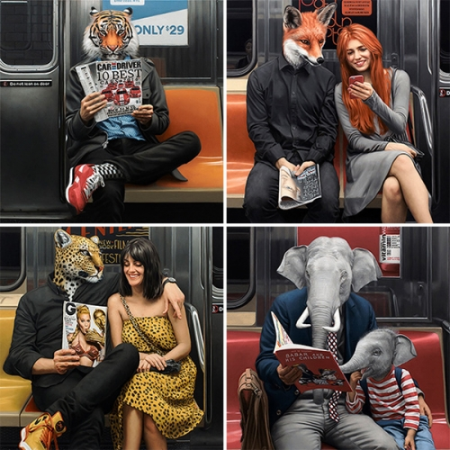Matthew Grabelsky UNDERGROUND solo show at Thinkspace Gallery is full of stunning surreal/realistic oil paintings of NYC subway riders reading magazines (and kid's books)... and all the males are animals!