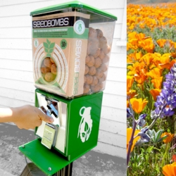 Greenaid seedbomb vending machines UPDATE! A recent initiative from L.A.-based design firm Commonstudio, has been growing through L.A. and beyond, offering bite-sized contributions to more livable and beautiful cities.