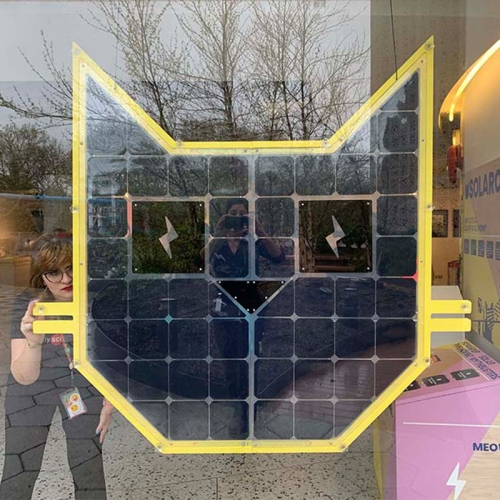 "Grouphug ""Solar Cat: The Cutest Solar Panel Ever Made,"" a giant cat-shaped solar panel at the historic New York Hall of Science in Queens."