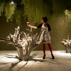 Inspired by the Bûche de Noël Solstice tradition, this installation invites you to forage, experience surprise and discovery, indulge the imagination in the setting of a Yule-time party. Join the hunt for confectionery mushrooms!