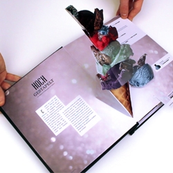 You have never experienced Fashion and Beauty like this before! HARD is a Bookazine by german Design-Student Ruben Scupin which features interactive elements such as Pop-Up, lenticular images, stitching and much more.