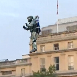 A PR stunt in Trafalgar Square for the launch of the New Halo Reach. A Spartan using a real jetpack !