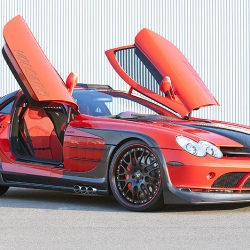 The HAMANN Volcano Special IAA Red 2009 Edition is a celebration of the Mercedes SLR McLaren, completely reworked and enhanced. It features a 700 bhp engine capable of 0-62 mph times in 3.6 seconds and a top speed of 216 mph.