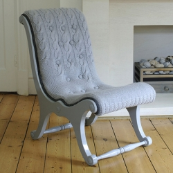After working as a knitwear designer, Melanie Porter has turned her expertise towards furniture design for the creation of these cozy, hand-knit sweater chairs.